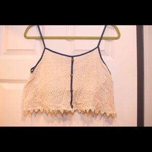 Lace/Denim Crop Top